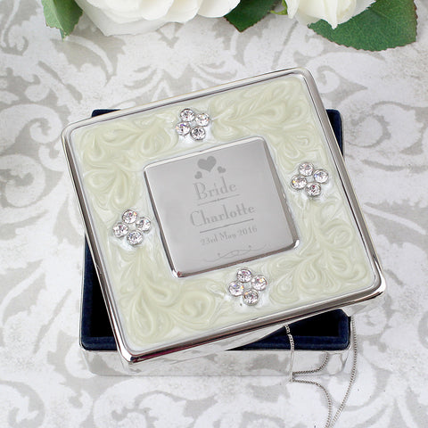 Personalised Bride Square Diamante Trinket Box Present