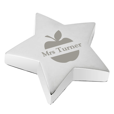 Personalised Apple Star Paperweight Present