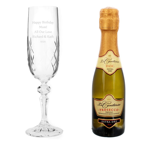 Personalised Crystal Flute and Mini Prosecco Gift Set