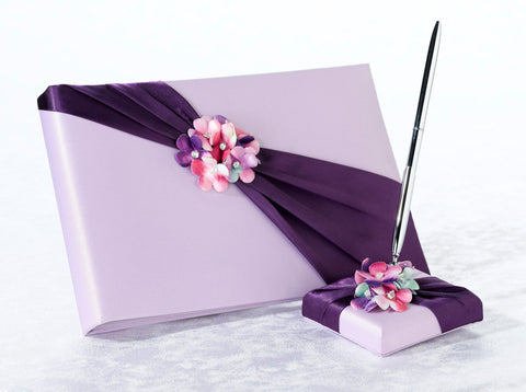 Purple and Lilac Wedding Guest Book and Pen Set