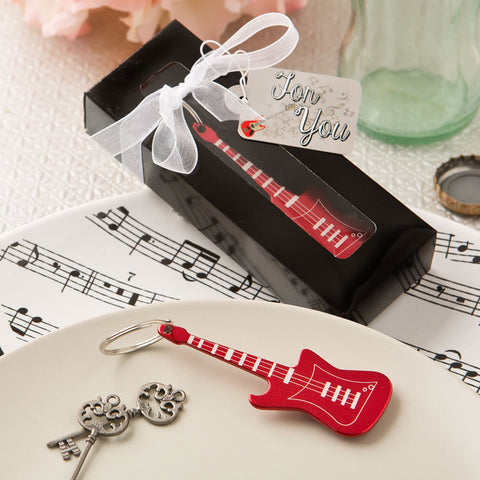 Red Electric Guitar Key Ring Favour 6PK