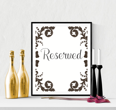 Decorative Reserved Wedding Sign Printable