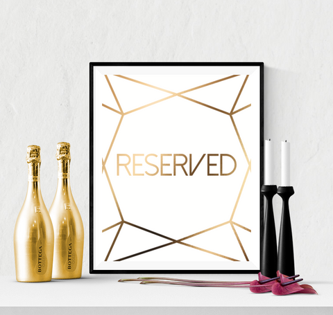 Reserved Wedding Sign Printable Diamond Cut Gold