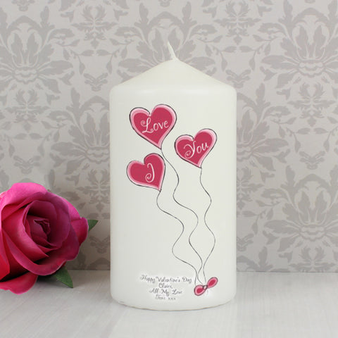 Personalised Heart Balloons Candle Gift