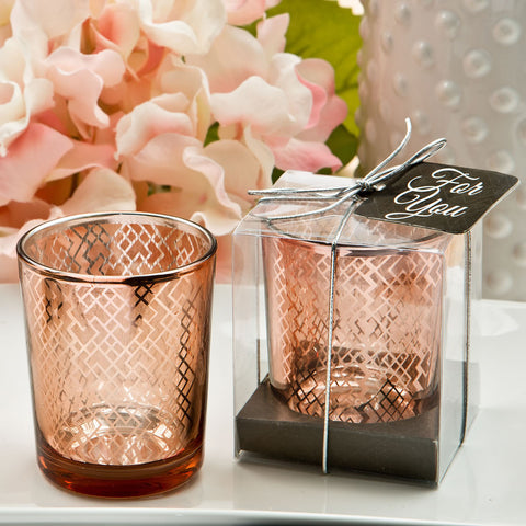 Rose Gold Votive Candle Wedding Favours 6PK