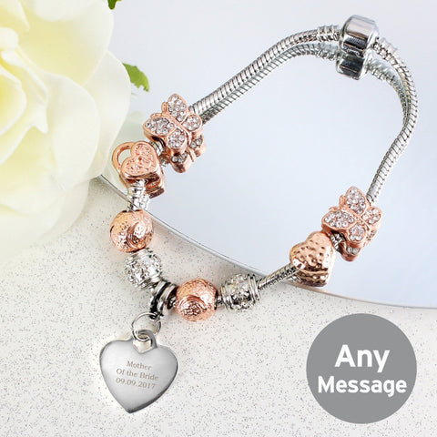 Personalised Rose Gold Charm Bracelet Message
