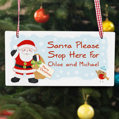 Personalised Felt Stitch Santa Stop Here Wooden Sign Gift
