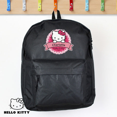 Personalised Hello Kitty Floral Black Backpack