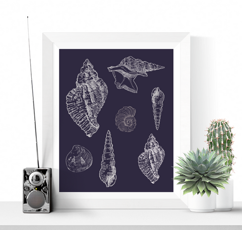 Seashells Art Printable Navy