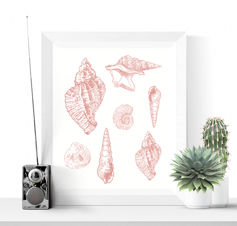 Seashells Art Printable Pink