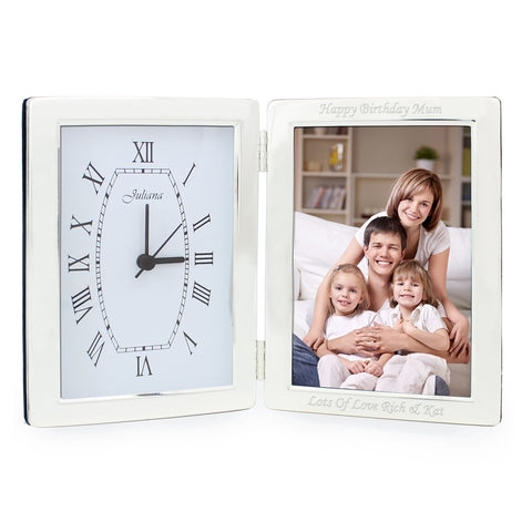 Personalised Silver Clock and Photo Frame Gift