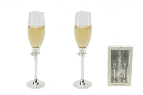 Silver Plated Butterfly Champagne Flutes