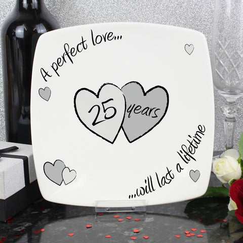 Perfect Love Silver Wedding Anniversary Plate Gift