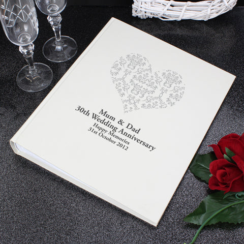 Silver Wedding Gift Ideas Uk : QUICK VIEW Personalised Silver Damask Heart Traditional Photo Album ? ...