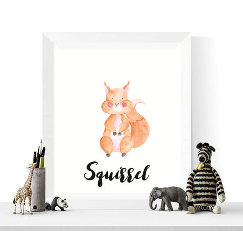Squirrel Art Printable Watercolour