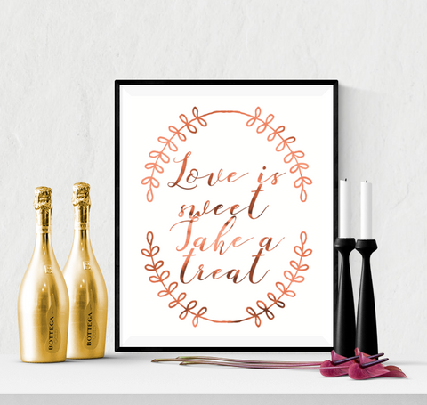 Sweet Treat Wedding Sign Printable Copper
