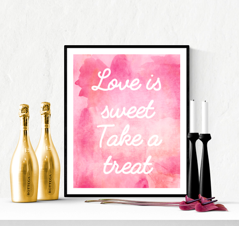 Sweet Treat Wedding Sign Printable Watercolour Design