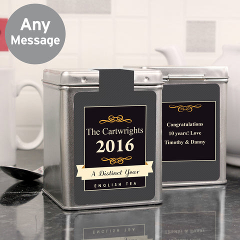 Personalised A Distinct Year Tea and Tin