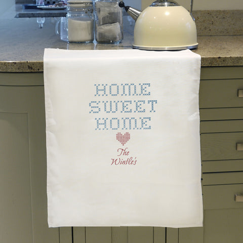 Personalised Home Sweet Home Tea Towel
