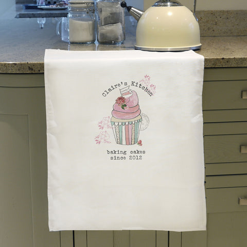 Personalised Vintage Cupcake Tea Towel