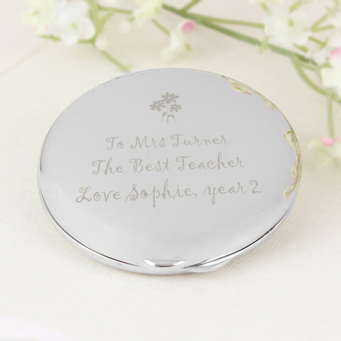 Personalised Flower Teachers Round Compact Mirror Gift