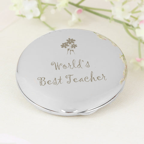 World's Best Teacher Round Compact Present