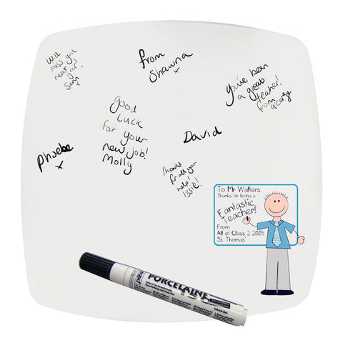 Personalised Whiteboard Teachers Message Plate Blue
