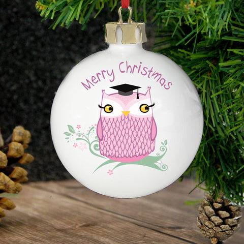 Personalised Miss Owl Bauble Gift