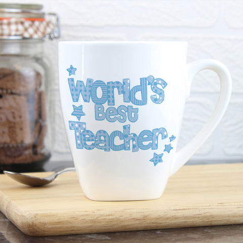 Personalised Blue World's Best Teacher Mug Gift