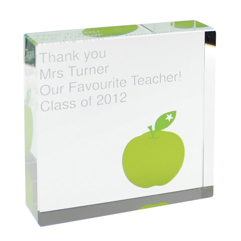 Personalised Teachers Large Crystal Block Gift