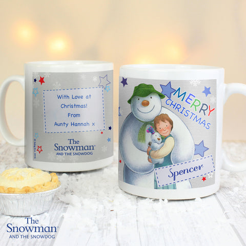 Personalised The Snowman and The Snowdog Christmas Mug Blue