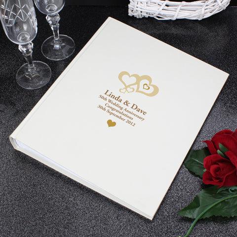 Personalised Love Hearts Gold Traditional Photo Album