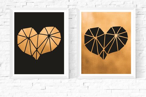 Geometric Heart Art Printables Black and Gold