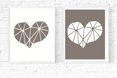 Geometric Heart Art Printables Grey and White