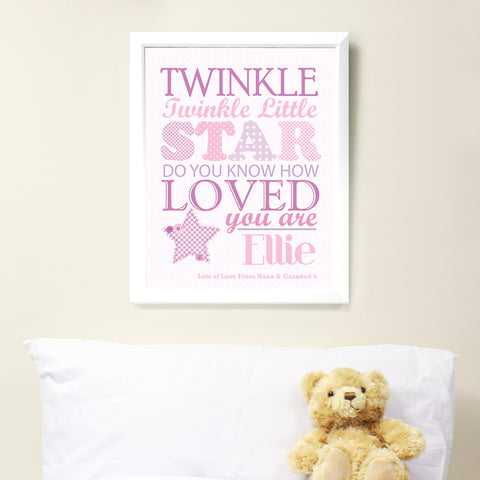 Personalised Twinkle Twinkle Girls Poster Frame White