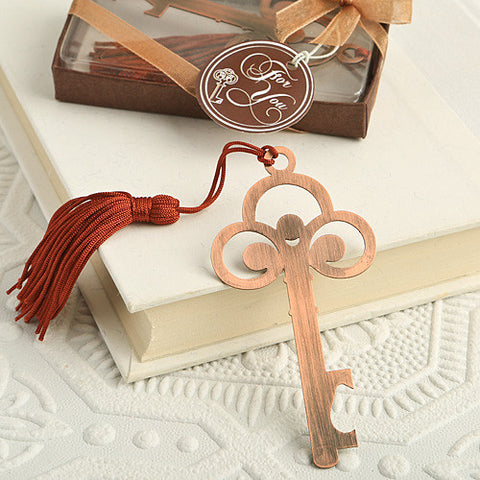Vintage Copper Skeleton Key Bookmark Favour 6PK
