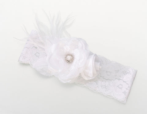 Vintage Wedding Garter White Wide