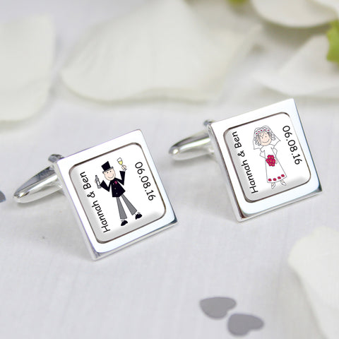Personalised Cartoon Wedding Couple Cufflinks