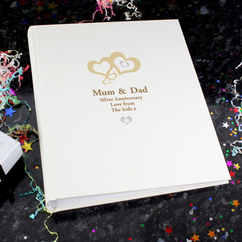 Personalised Love Hearts Silver Traditional Photo Album