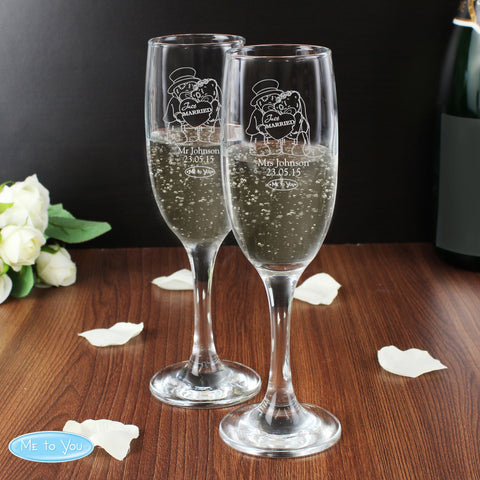 Personalised Me to You Wedding Champagne Flutes