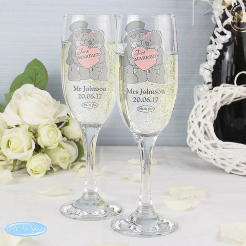 Personalised Me to You Wedding Champagne Flutes Pair
