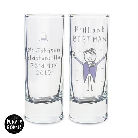 Personalised Purple Ronnie Male Wedding Shot Glass