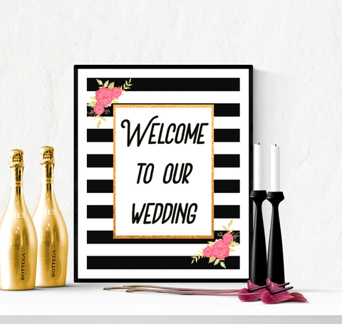 Welcome to our Wedding Printable Black Stripes