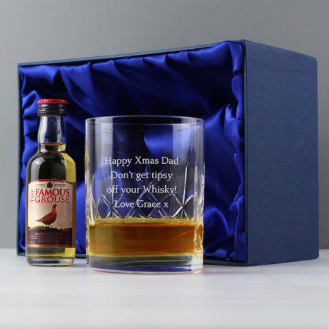 Personalised Crystal and Whisky Gift Set
