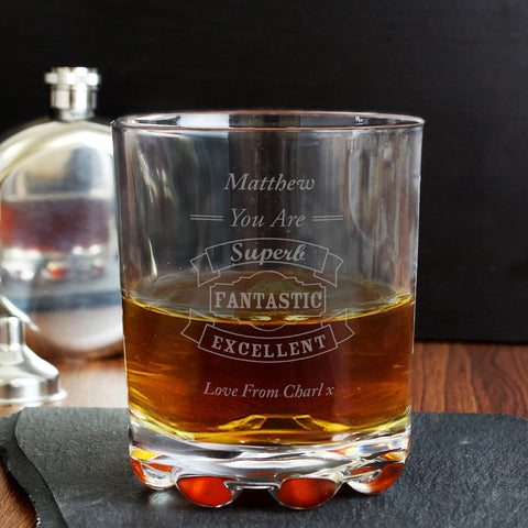 Personalised Vintage Typography Whisky Glass