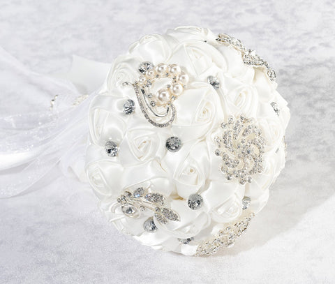 White Crystal Flower Bridal Bouquet