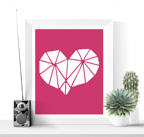 Pink Geometric Heart Printable Art