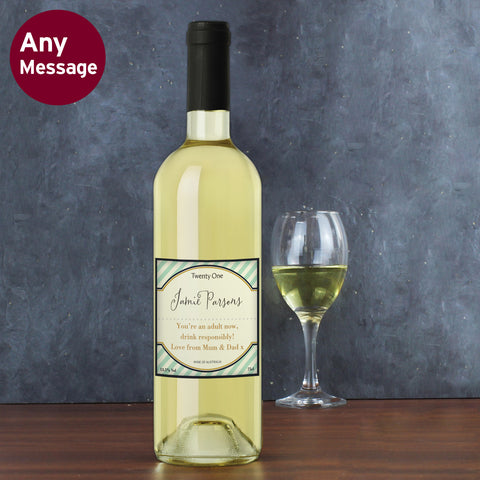 Personalised Green Stripe White Wine