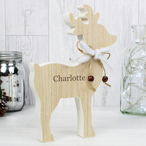 Personalised Reindeer Wooden Christmas Decoration with Name