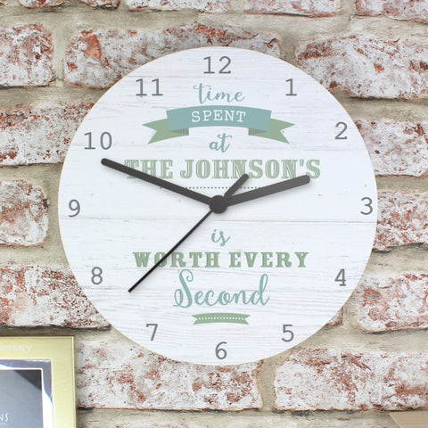 Personalised Time Spent Large Wooden Clock
